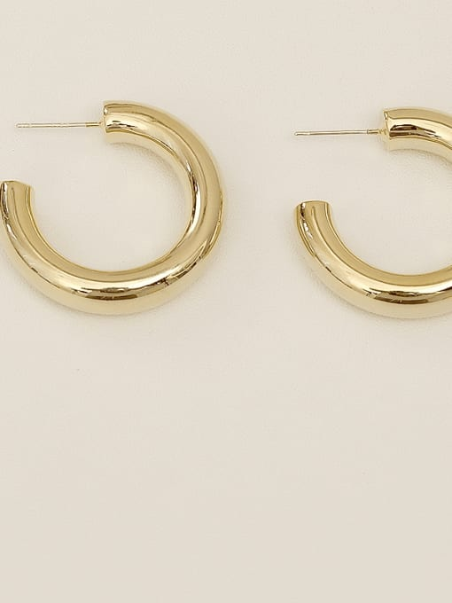 14k Gold Plating [small] Copper Alloy Round Minimalist Hoop Earring